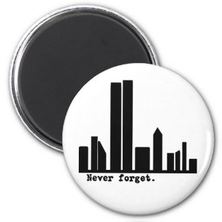 9-11 Never Forget NY Skyline Tshirts, Buttons 2 Inch Round Magnet