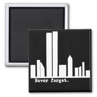 9-11 Never Forget NY Skyline Tshirts, Buttons 2 Inch Square Magnet