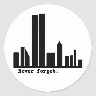 9-11 Never Forget NY Skyline Tshirts, Buttons Sticker