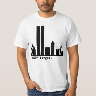 9-11 Never Forget NY Skyline Tshirts, Buttons T-Shirt