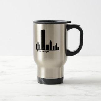 9-11 Never Forget NY Skyline Tshirts, Buttons Travel Mug