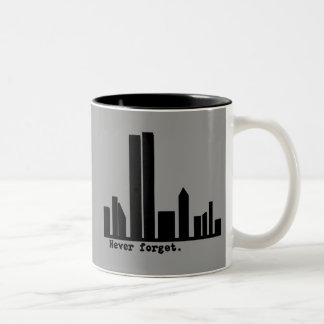 9-11 Never Forget NY Skyline Tshirts, Buttons Two-Tone Coffee Mug