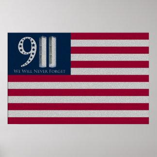 9-11 nunca olvidaremos el poster de la bandera