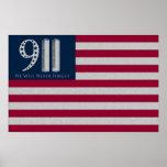 9-11 nunca olvidaremos el poster de la bandera ame