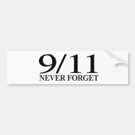 9/11 nunca olvide etiqueta de parachoque