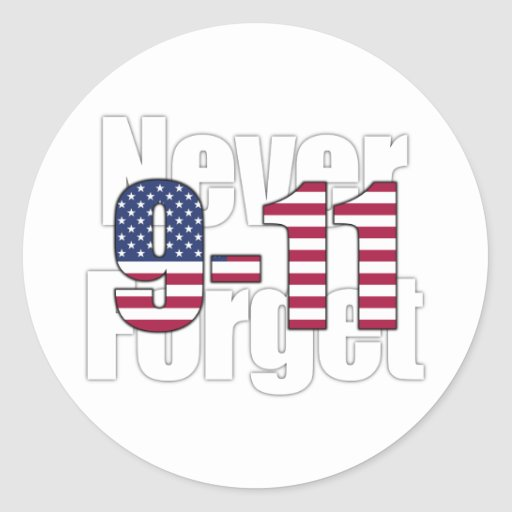 9-11 nunca olvide pegatina redonda