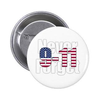 9-11 nunca olvide pin redondo de 2 pulgadas