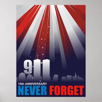 9-11 poster enorme del 11mo 10mo aniversario de Se