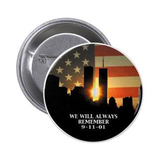 9-11 recuerde - nunca olvidaremos pin redondo de 2 pulgadas