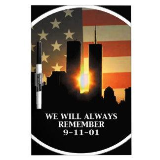 9-11 recuerde - nunca olvidaremos pizarra