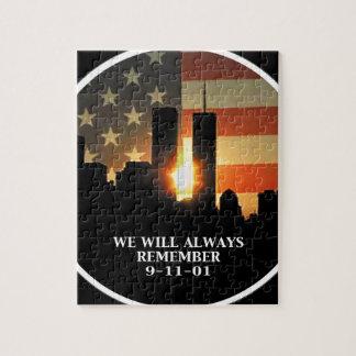9-11 recuerde - nunca olvidaremos puzzle
