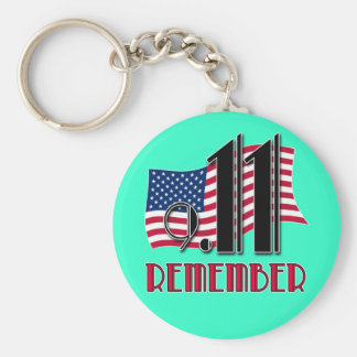 9/11 REMEMBER with American Flag Tshirts Basic Round Button Keychain