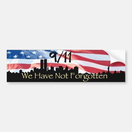 9/11 Remembered NY Skyline and Waving Flag Bumper Stickers