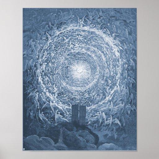 9,11 Rosa blanco de Dore de las torres gemelas Póster