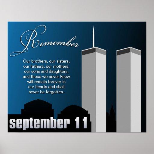 9 11 September 11th Wtc Remembrance Poster Zazzle Com