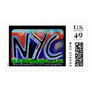 9/11 stamp, never forgotton.