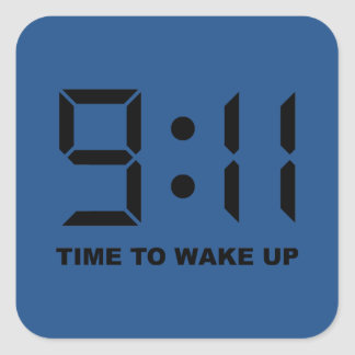 9:11 time to wake up square sticker