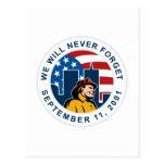 9-11 torre gemela de la bandera americana del postal