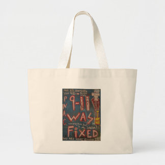 9-11 was fixed blue large tote bag