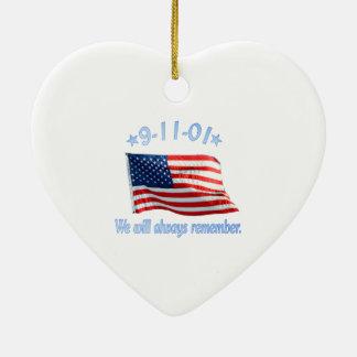 9-11 We Will Always Remember Ceramic Ornament