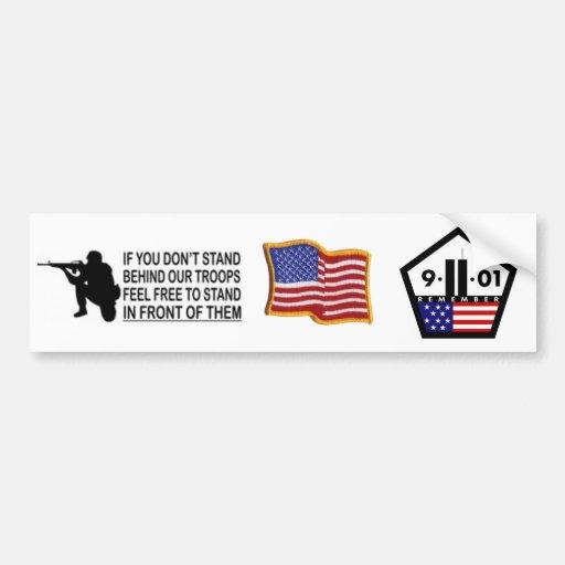 9/11 y apoya a nuestra pegatina para el parachoque pegatina para auto