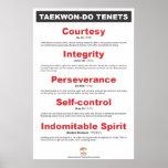 9-1 poster de los principios de AKTA el Taekwondo