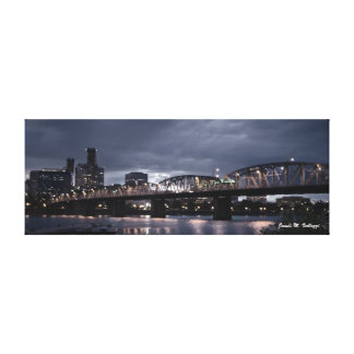 9.35 x 24.93 Hawthorne Bridge Portland, Oregon Canvas Print
