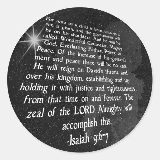 9:6 de Isaías - 7 a nosotros un niño nace - Jesús Pegatina Redonda