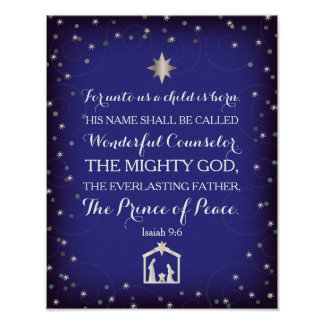 9:6 de Isaías para a nosotros un niño nace (11x14) Poster