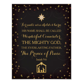 9:6 de Isaías para a nosotros un niño nace (11x14) Póster