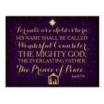 9:6 de Isaías para a nosotros un niño nace Postal