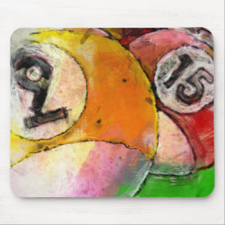 9 and 15 Balls Billiards Abstract Mouse Pad