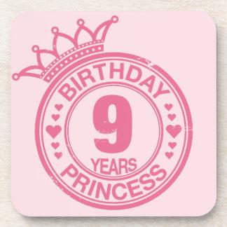 9 años - princesa del cumpleaños - rosa posavasos de bebidas