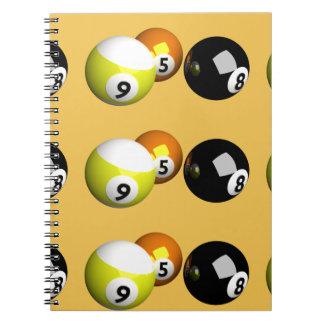 9 Ball 3D Pool Balls Spiral Notebook