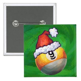 9 ball Christmas Green Hat Pinback Buttons