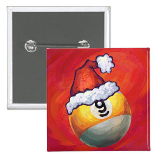 9 ball Christmas Red Hat Pin