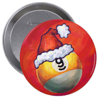 9 ball Christmas Red Hat Pinback Buttons