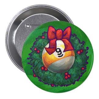 9 ball Christmas Wreath Green Pinback Buttons