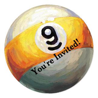 """9 ball Party Invitation 5.25"""" Square Invitation Card"""