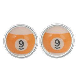 """9 Ball"" pool ball design jewelry set Cufflinks"