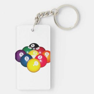 9 Ball Rack Rectangular Acrylic Key Chain