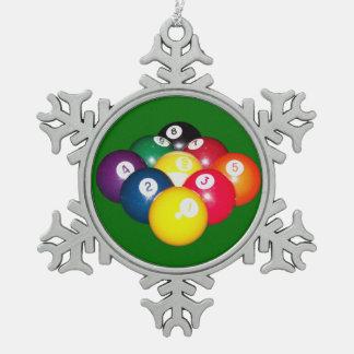 9 Ball Rack Snowflake Pewter Christmas Ornament