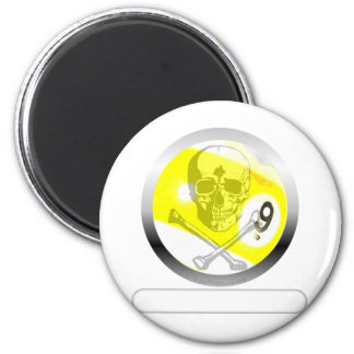 9 Ball Skull and Crossbones 2 Inch Round Magnet