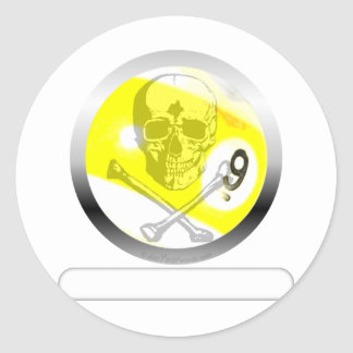 9 Ball Skull and Crossbones Classic Round Sticker