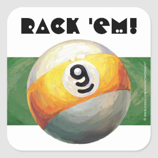 9 ball square sticker