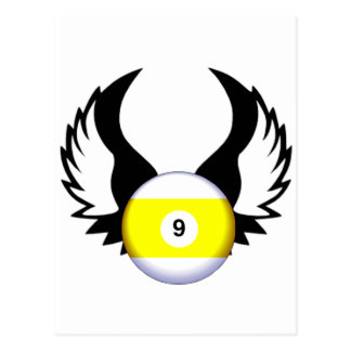 9 Ball with Wings Post Card