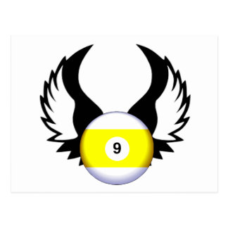 9 Ball with Wings Postcard