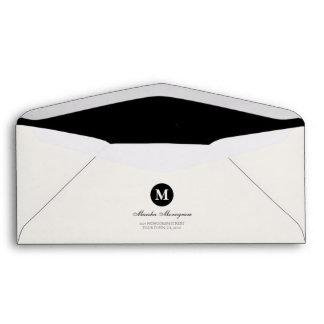 #9 - Black & Cream Monogram (Black inside) Envelope