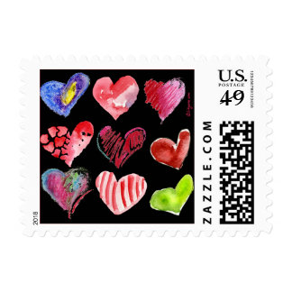 9 Black Love Hearts Small Square Postage Stamps