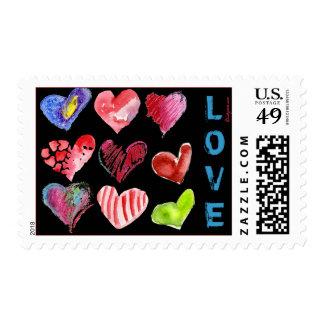 9 Black Love Hearts Watercolor Postage